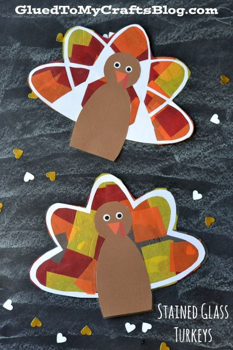 Stained Glass Turkey Craft for kids from Glued to My Crafts
