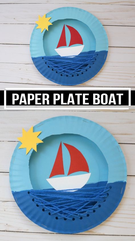 Paper plate boat craft for preschoolers and older kids to make this summer. An easy craft idea that comes with a free printable template. This sailboat craft is also an easy yarn sewing project. #boatcraft #paperplateboat #yarncraft #paperplatecraft #craftforkids #craftsforpreschooler