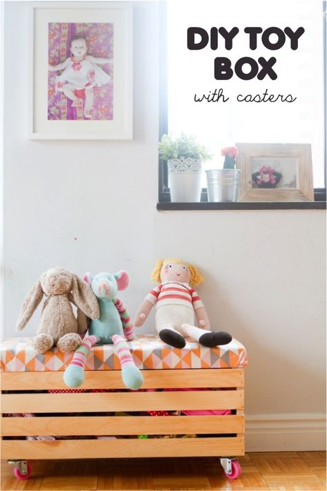 {DIY toy box with casters} so smart & adorable