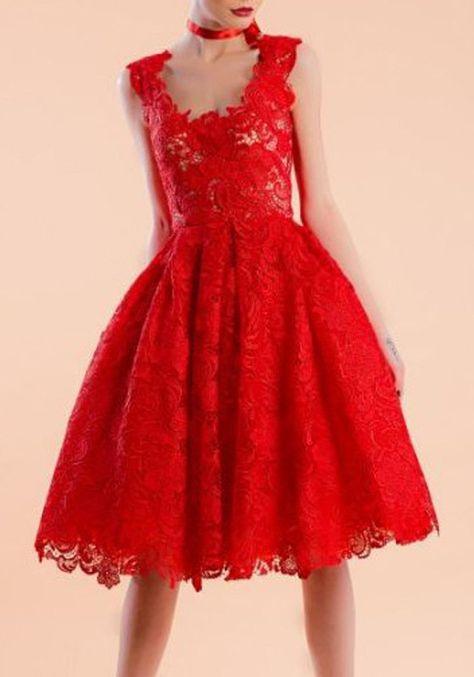 Rote kleider kurz mit spitze