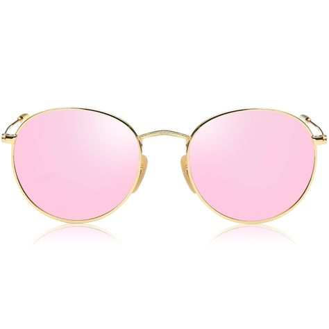 bf34b93afe Amazon.com  SojoS Small Round Polarized Sunglasses Mirrored Lens Unisex  Glasses SJ1014 With Gold Frame Pink Mirrored Lens  Clothing