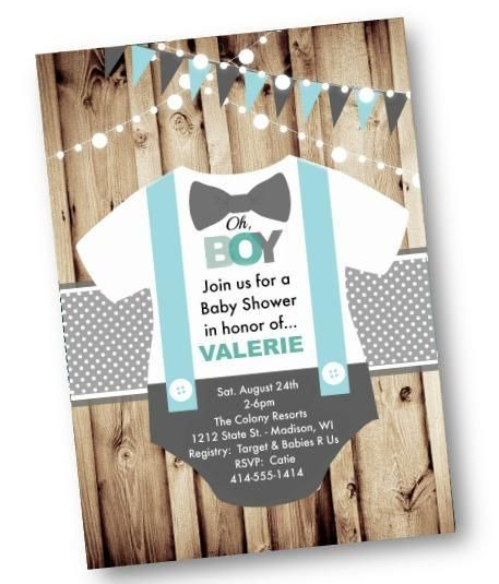 Onesie Baby Shower Invitation - Oh Boy light blue rustic flyer invite