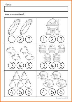 Math Worksheets & Activities - Autumn (Beginning Skills). Count and color (or use with dot paints).