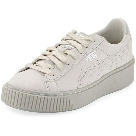 Puma Basket Leather Platform Sneaker ($67) ❤ liked on