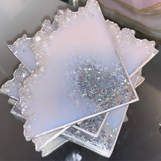 Home Art Drinkware Coffee Table Decor Home Decor White and Glitter Resin Coasters