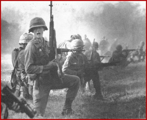 M-14's with USMC in Vietnam Combat action (M79 and M60 also seen here  mid-1960s,  prior to issuance of M-16's...