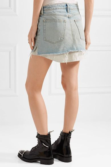 a2dab6952269 Alexander Wang - Layered Striped Poplin And Denim Mini Skirt - Light denim