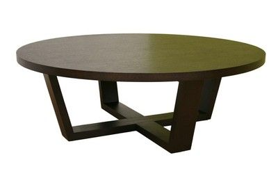 Tilly Modern Large Round Black Oak Coffee Table Wenge Baxton