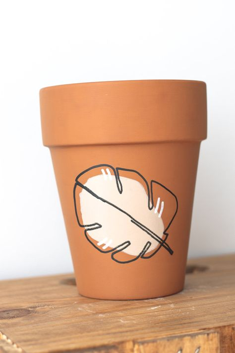 Monstera Leaf Plant Pot Hand Painted Tall Terracotta Pot Indoor Plant Pot Clay Pot Drainage Hole Abstract Planter