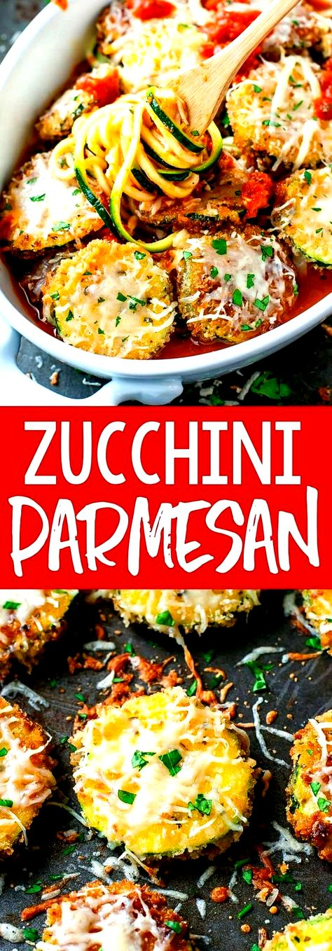 Were obsessed with this vegetarian Zucchini Parmesan! Serve it up as a tasty appetizer or a delicious dinner complete with zucchini noodles or your favorite pasta! #zucchini #parmesan #cheese #dinner #appetzier #vegetarian