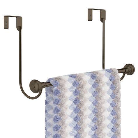 Metal Over Shower Door Towel Bar Rack for Bathroom Metal Over Shower Door Towel Bar Rack for Bathroom in Graphite, by mDesign   Face Towel decor #Bar #bathroom #Door #metal #rack #Shower #Towel