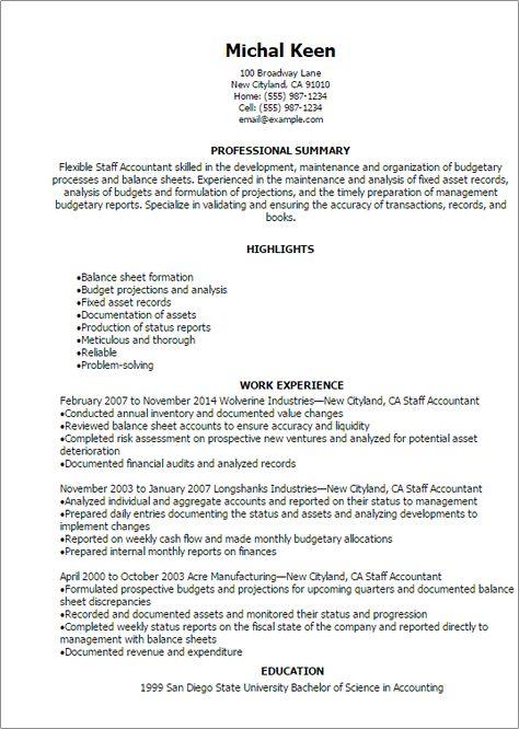 professional staff accountant resume templates showcase your - professional balance sheet