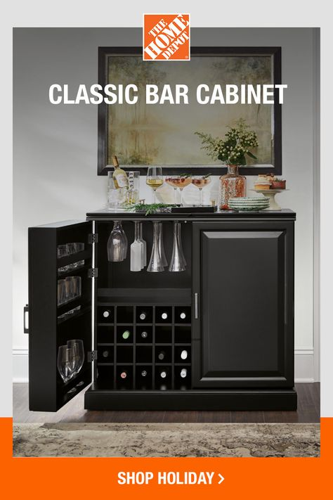 Who knew storage could be so sleek? The Jamison bar cabinet by Home Decorators Collection takes holiday serving and spirit storage to the next level. Shop online now at The Home Depot to make this piece yours and browse other bar favorites.
