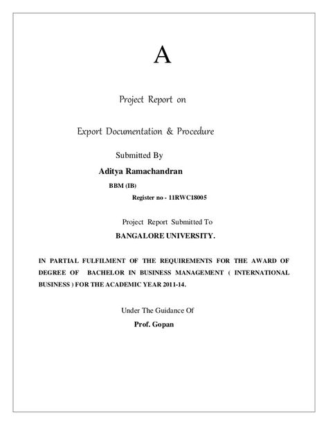 A Project Report On Export Documentation  Procedure Submitted By