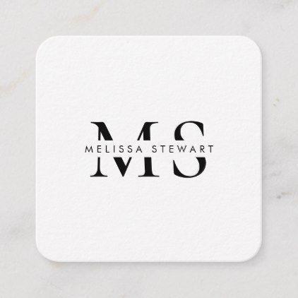 Elegant monogram modern black white rounded square business card