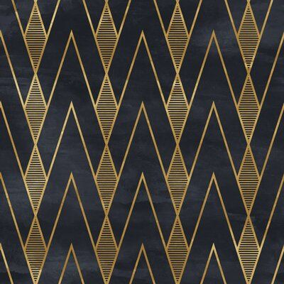 Mercer41 Goodale Vintage Geometrical 10 L X 24 W Peel And Stick Wallpaper Roll Blue And Gold Wallpaper Wallpaper Accent Wall Geometric Removable Wallpaper