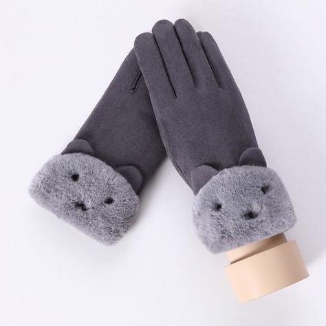 Women's Gloves New Kpop Black Pink Women Cute Fleece Gloves Feamle Winter Thick Soft Warmer Mittens Gloves Winter