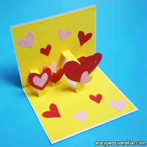3d Heart Flower Card With Flower Template Valentines And Mother S Day Craft Idea Diy Pop Up Cards Pop Up Card Templates Pop Up Valentine Cards