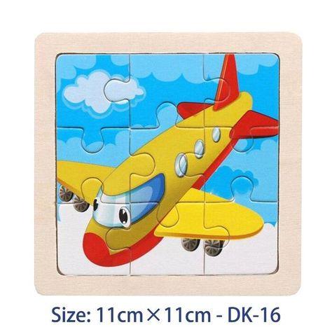 Cartoon Wooden Animal Jigsaw Puzzle - Plane