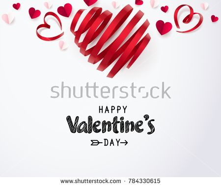 Twirl Red Heart Ribbon And Happy Valentine S Day With Paper Hearts