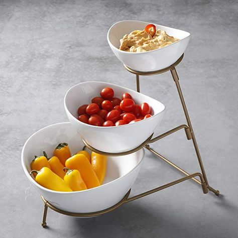 Amazon Com Gibson 3 Tiered Oval Chip And Dip Set With Metal Rack Three Tier Dessert And Snack Server Chip Dip Sets Chip And Dip Sets Snack Servers Snacks
