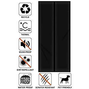 Liveinu Magnetic Thermal Insulated Door Curtain Storm Wind Fleece