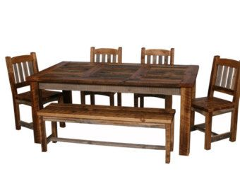 Natural Barn Wood Dining Table Set Dining Room Furniture Rustic