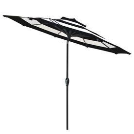 225 & Allen + roth Black and White stripe Market 9-ft Patio Umbrella at ...