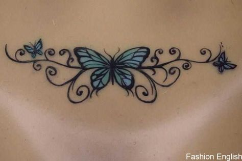 Lower Back Tattoos For Females – 6 Tattoo Designs That Look Good on the Lower Back Real hand painted butterfly back tattoo on silicone Sinthetic doll. Lower Back Tattoos For Guys