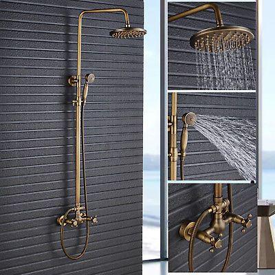 Antique Brass Rain Shower Faucet Shower Head Set Tub Mixer Tap