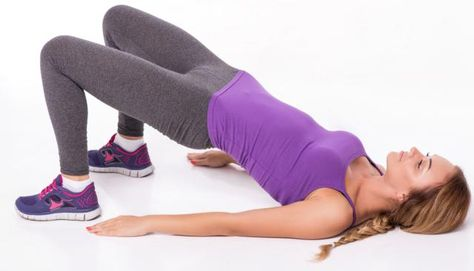 Stretch your quad muscles with a hip bridge.  Here's how.