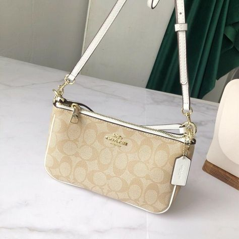 Coach Signature Messico Top Handle Pouch Purse Crossbody Mini Bag Khaki Chalk in Clothing, Shoes & Accessories > Women's Handbags & Bags > Mixed Items & Lots Cute Crossbody Purses, Gucci Crossbody Bag, Designer Crossbody Bags, Purses And Handbags, Gucci Handbags, Coach Purses, Coach Mini Purse, Mini Bag, Branded Bags