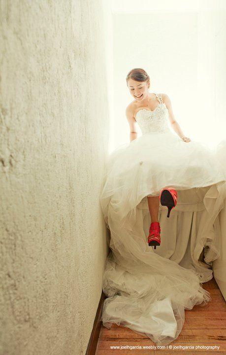 Red Shoes Wedding   Real Weddings I www.joelhgarcia.weebly.com #wedding #weddings #bride #pretty #beautiful #bridal #love #filipino #philippines #manila #manilaweddings #xoxo #weddingdress #weddinggown #joelhgarcia #jhgweddings #awesome #random #happy #marriage #romance #shop #happy #cute #bridesmaid #girl #shoes #bags #veil #weddingphotographer