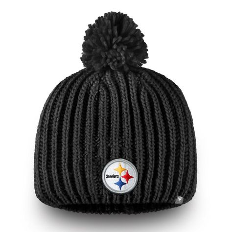 2852ae17c Women's Pittsburgh Steelers NFL Pro Line by Fanatics Branded Black Iconic  Ace Knit Hat With Pom, Your Price: $23.99