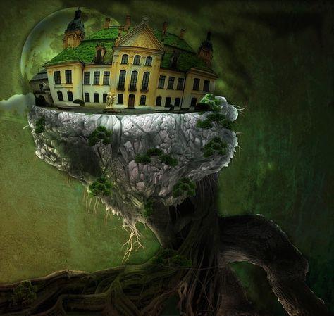 """""""La maison dans l'arbre"""" - 1st digital work with photoshop - from a tutorial (you can find it here http://www.advancedgraphics.eu/article-la-maison-dans-les-arbres-avec-photoshop-extended-cs5-59162798.html)"""