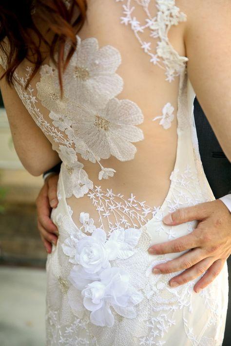 Real bride Maddie in Claire Pettibone 'Orange Blossom' #weddingdress http://www.clairepettibone.com/bridal/?cp=gowns/orange-blossom | Photo: Pepper Nix Photography feat. on Ruffled Blog