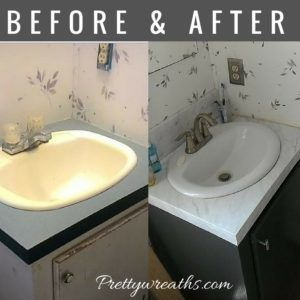 The Before And After Of A Mobile Home Bathroom Vanity Makeover Follow Along Wit In 2020 Mobile Home Bathroom Bathroom Vanity Makeover Mobile Home Bathrooms
