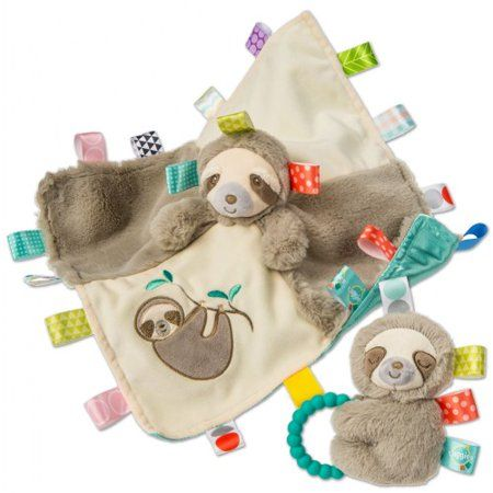 Sensory Stuffed Animal Soft Rattle With Teether Ring Molasses Sloth Baby