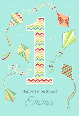 Kite 1st Birthday Card Greetings Island 1st Birthday Cards Free Printable Birthday Cards Birthday Card Printable