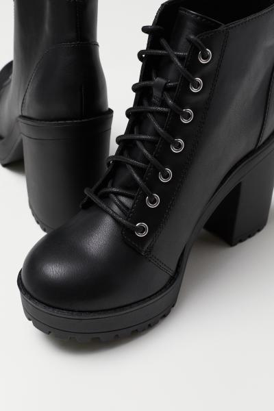 Platform Ankle Boots - Black/faux