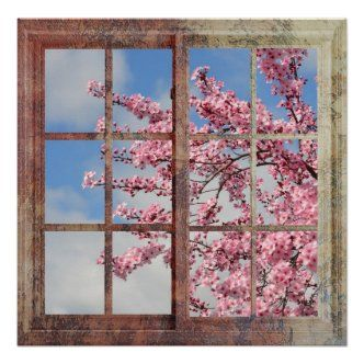 Cherry Blossoms In Window Poster Zazzle Com In 2021 Cherry Blossom Tree Blossom Trees Cherry Blossom Wall Art