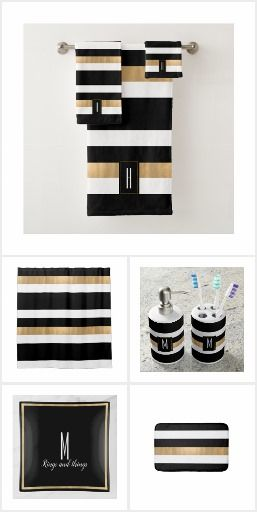 Contemporary Striped Bathroom Set Black White Gold Bathroom