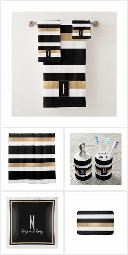 Modern Monogrammed Striped Bath Towel Set Shower Design