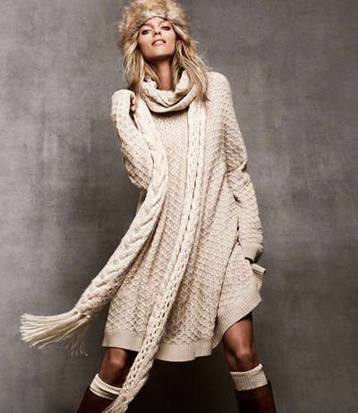 Polish supermodel Anja Rubik shows off the best of H&M's Winter looks from ladylike knitwear to urban chic outerwear all coloured in an inviting spectrum of beige.