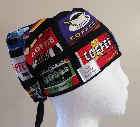 787f1641a817c Coffee Label - Handmade Scrub Hats. More like this