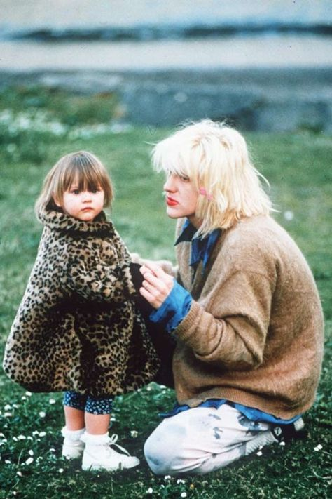 Courtney Love & Frances Bean (1994) at the vigil for Kurt Cobain