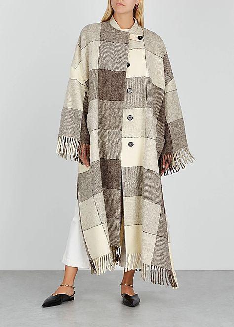Jil Sander Luella checked cape-effect wool coat - Harvey Nichols