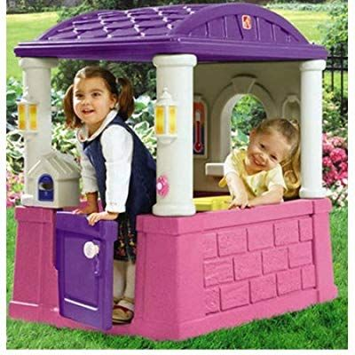 Kids Outdoor Playhouse with 2 Built-In Seats and Tabletop Backyard Playhouses For Girls Children Toddlers Playsets Pink /& Purple NEW