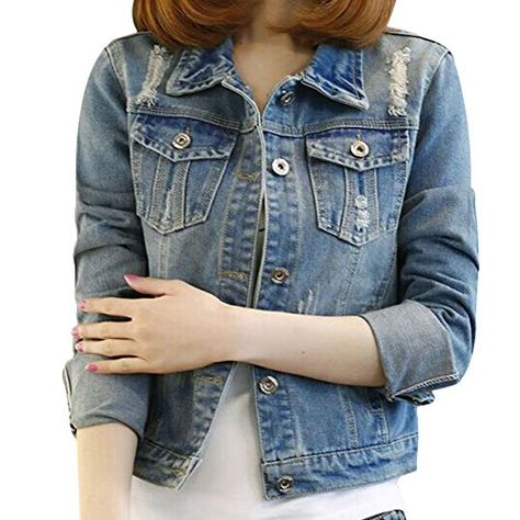 Johnells Fashion Comfortable Women Vogue Perfect Neutral Ripped Long Sleeve Denim Jacket