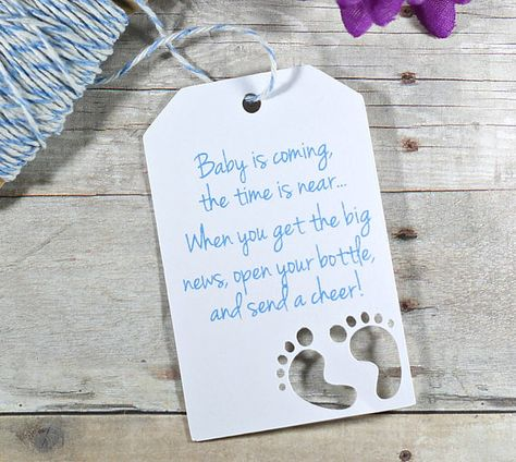 Baby is Coming Baby Boy Shower Tags Set of 20  Open Your